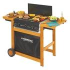 Campingaz Adelaide 3 Woody DualGas 14000 W Barbecue Gas Carrello Nero, Legno