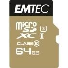 EMTEC 64GB Micro SDHC Classe 10 Speedin U3 + adattatore