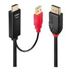 LINDY 41427 cavo di interfaccia e adattatore DisplayPort HDMI A/USB A Nero, Rosso
