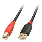LINDY USB A/USB B 10m cavo USB Maschio Nero, Rosso