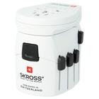 Skross PRO – World & USB Adattatore per presa di corrente Universale Bianco
