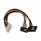 STARTECH Splitter cavo di alimentazione Y LP4 a 2 SATA Latching ad angolare destro 30 cm- Cavo 4 Pin a Dual SATA