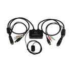 STARTECH Switch KVM cavo HDMI USB 2 porte con audio e switch remoto – Alimentazione USB
