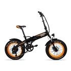 """Vivobike Fat Bike VF21 Ruote 20"""" Pieghevole 7 Velocità Cambio Shimano Nero, Arancione"""