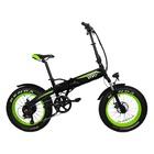 """Vivobike Fat Bike VF21 Ruote 20"""" Pieghevole 7 Velocità Cambio Shimano Nero, Verde"""