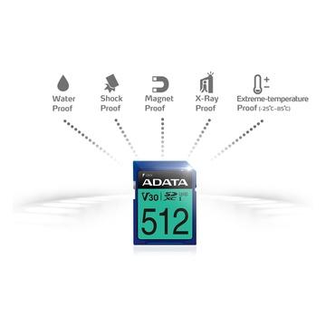 Adata 512GB Premier Pro SDXC UHS-I U3 Classe 10 V30