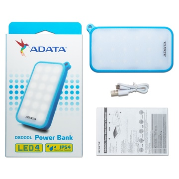 Adata D8000L Power Bank con Luce Led Bianco Blu, Trasparente Polimeri di litio (LiPo) 8000 mAh