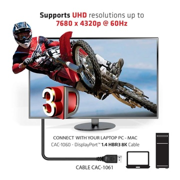 Club3D DisplayPort 1.4 HBR3 8K Cable M/M 5m /16.40ft