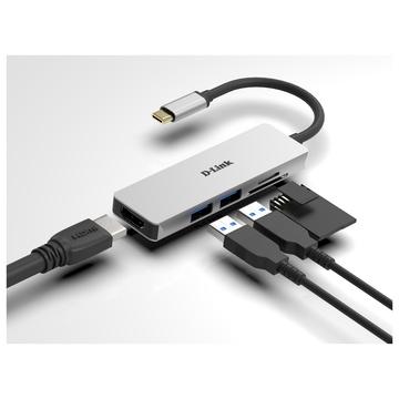 D-Link DUB-M530 Cablato USB 3.2 Gen 1 (3.1 Gen 1) Type-C Alluminio, Nero