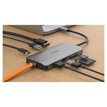 D-Link DUB-M810 replicatore di porte e docking station per notebook Cablato Thunderbolt 3 Argento