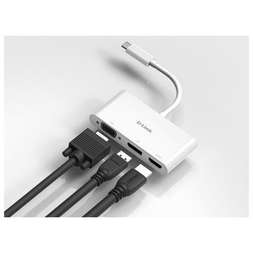D-Link DUB-V310 Cablato USB 3.2 Gen 1 (3.1 Gen 1) Type-C Bianco
