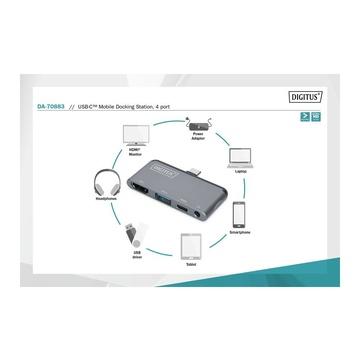 Digitus DA-70883 hub di interfaccia USB 3.2 Gen 2 (3.1 Gen 2) Type-C 625 Mbit/s Grigio