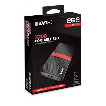 EMTEC X200 256 GB SATA III Nero, Rosso