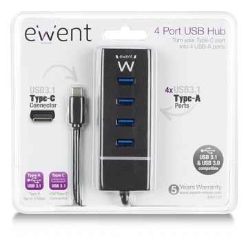 EWENT EW1137 USB 3.2 Gen 1 Type-C 5000 Mbit/s Nero