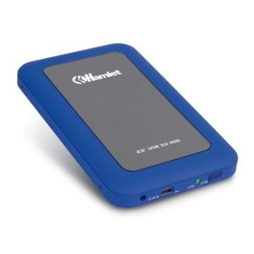 "Hamlet Box, 2.5"", SATA-II, USB 3.0, 5Gbps, Blu/Gris"