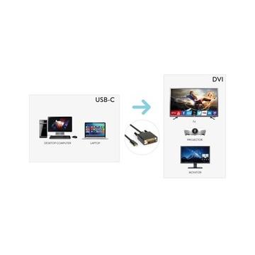 Hamlet XVAUC-DV4K20 Adattatore video 2 m USB C DVI Nero