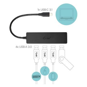 I-TEC Advance C31HUB404 hub di interfaccia USB 3.2 Gen 2 (3.1 Gen 2) Type-C 5000 Mbit/s Nero