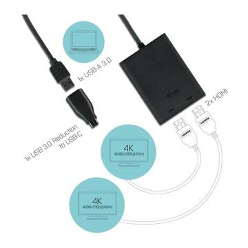 I-TEC USB 3.0 / USB-C Dual 4K HDMI Video Adapter