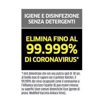 Karcher Pulitore a vapore SC3 UPRIGHT EASYFIX Elimina il coronavirus al 99,999%