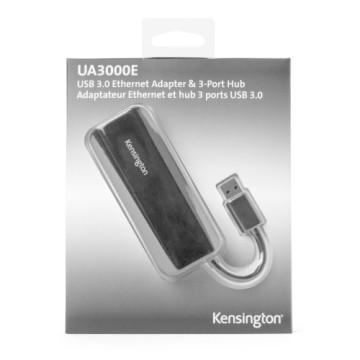 KENSINGTON Adattatore ethernet + PocketHub 3 porte USB 3.0