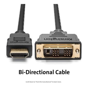 KENSINGTON K33022WW cavo e adattatore video 1,8 m HDMI tipo A (Standard) DVI-D Nero