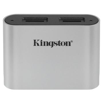 Kingston Technology Workflow microSD Reader lettore di schede USB 3.2 Gen 1 (3.1 Gen 1) Type-C Nero, Argento