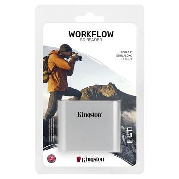 Kingston Technology Workflow SD Reader lettore di schede USB 3.2 Gen 1 (3.1 Gen 1) Nero, Argento