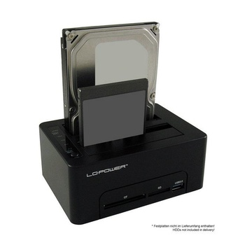 LC Power LC-DOCK-U3-CR docking station per unità di archiviazione USB 3.0 Type-A Nero