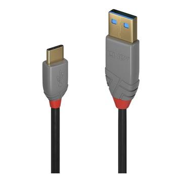 LINDY 36886 cavo USB 1 m 2.0 USB A USB C Nero, Grigio