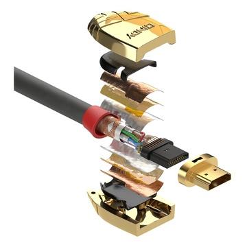 LINDY 37864 5m HDMI Type A (Standard) HDMI Type A (Standard) Oro, Grigio cavo HDMI