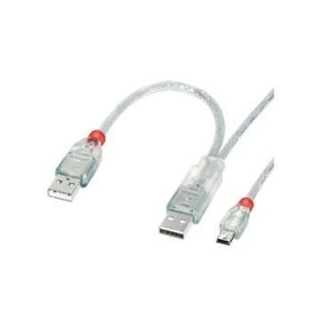 LINDY USB 2.0 2 x A (20cm) / Mini-B 2.0m 2m USB A Mini-USB B Maschio Maschio cavo USB