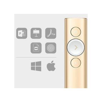 Logitech Spotlight puntatore wireless Bluetooth/RF Oro
