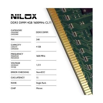 Nilox NXD41600M1C11 4GB PC3-12800 DDR3 1600 MHz