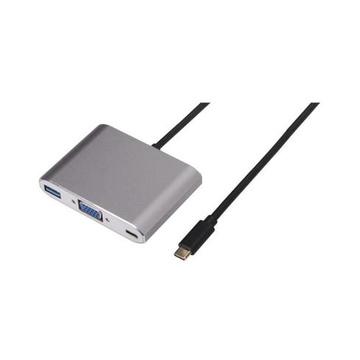 Nilox USB Type-C - VGA/USB Type-C/USB 3.0 M/F VGA/USB Type-C/USB 3.0 Argento