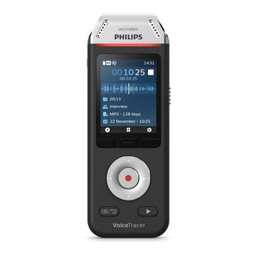 Philips Voice Tracer DVT2810/00 dittafono Flash card Nero, Cromo