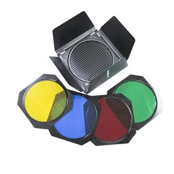 Phottix Set di alette, griglia e gelatine colorate per riflettore 7