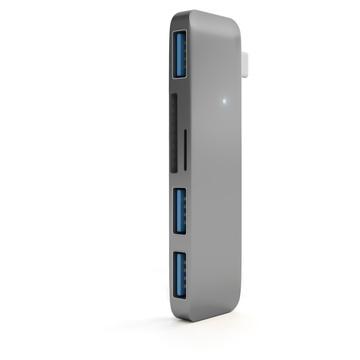 Satechi 3-IN-1 COMBO, Hub combinato 3-in-1 USB 3.0 Type-C, Grigio