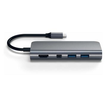Satechi Adattatore Multimediale C Alluminio con 4K HDMI, Mini DisplayPort, USB PD, Gigabit Ethernet, USB 3.0, Slot schede Micro/SD Grigio siderale
