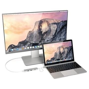 Satechi Adattatore Multiporta Sottile Tipo-C in Alluminio con Porta di Ricarica USB-C, Uscita Video 4K HDMI, 2 Porte USB 3.0 Argento