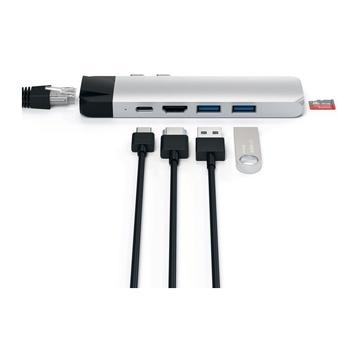 Satechi Pro Hub Adattatore Tipo-C in Alluminio con Ethernet - Uscita Video 4K HDMI, USB-C PD, Gigabit Ethernet, Porte USB 3.0 e Slot Scheda Micro SD Argento