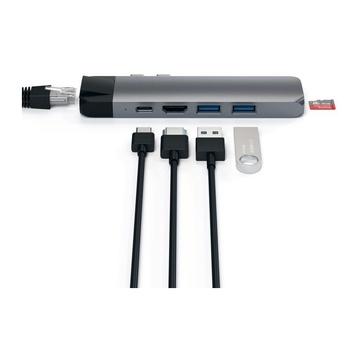Satechi PRO Hub Adattatore Tipo-C in Alluminio con Ethernet - Uscita Video 4K HDMI, USB-C PD, Gigabit Ethernet, Porte USB 3.0 e Slot Scheda Micro SD