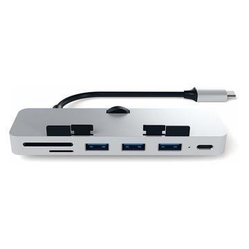 Satechi PRO Hub in Alluminio con aggancio, Porta Dati USB-C, 3 USB 3.0, Lettore Schede Micro/SD Compatibile con iMac e iMac PRO 2017 (Argento)