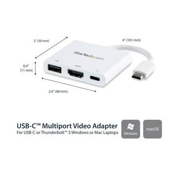 STARTECH Adattatore Multifunzione USB-C a HDMI 4k con Power Delivery e porta USB-A - Bianco