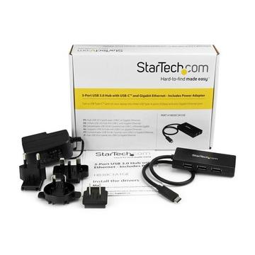 STARTECH Hub USB 3.0 a 3 porte con USB-C e Ethernet Gigabit - Include Adattatore di Alimentazione