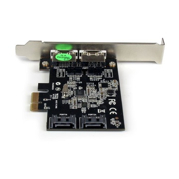 STARTECH Scheda controller PCI Express SATA 6 Gbps eSATA 2 porte - Scheda PCIe SATA III a due porte - 2 int/2 est