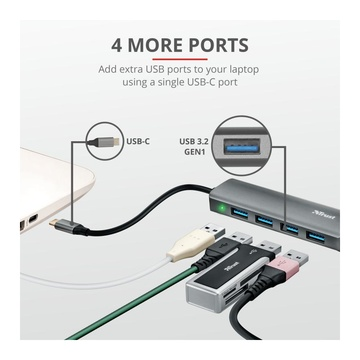 Trust 23328 hub di interfaccia USB 3.2 Gen 1 (3.1 Gen 1) Type-A 5000 Mbit/s Grigio