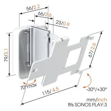 Vogel's SOUND 4203 Supporto da parete per SONOS PLAY:3 Bianco