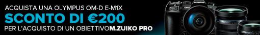 Acquista Olympus M1X con obiettivo Serie PRO e ricevi sconto immediato in CASSA di € 200