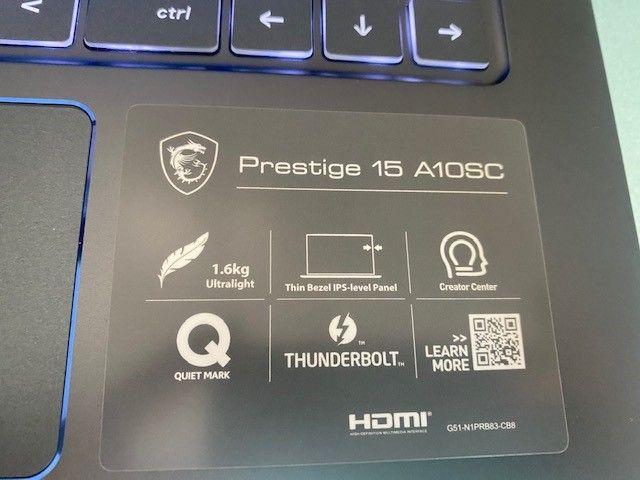 "Prestige 15 A10SC-028IT Comet Lake i7-10710U 15.6"" FullHD GTX 1650 MAX-Q da 4GB"