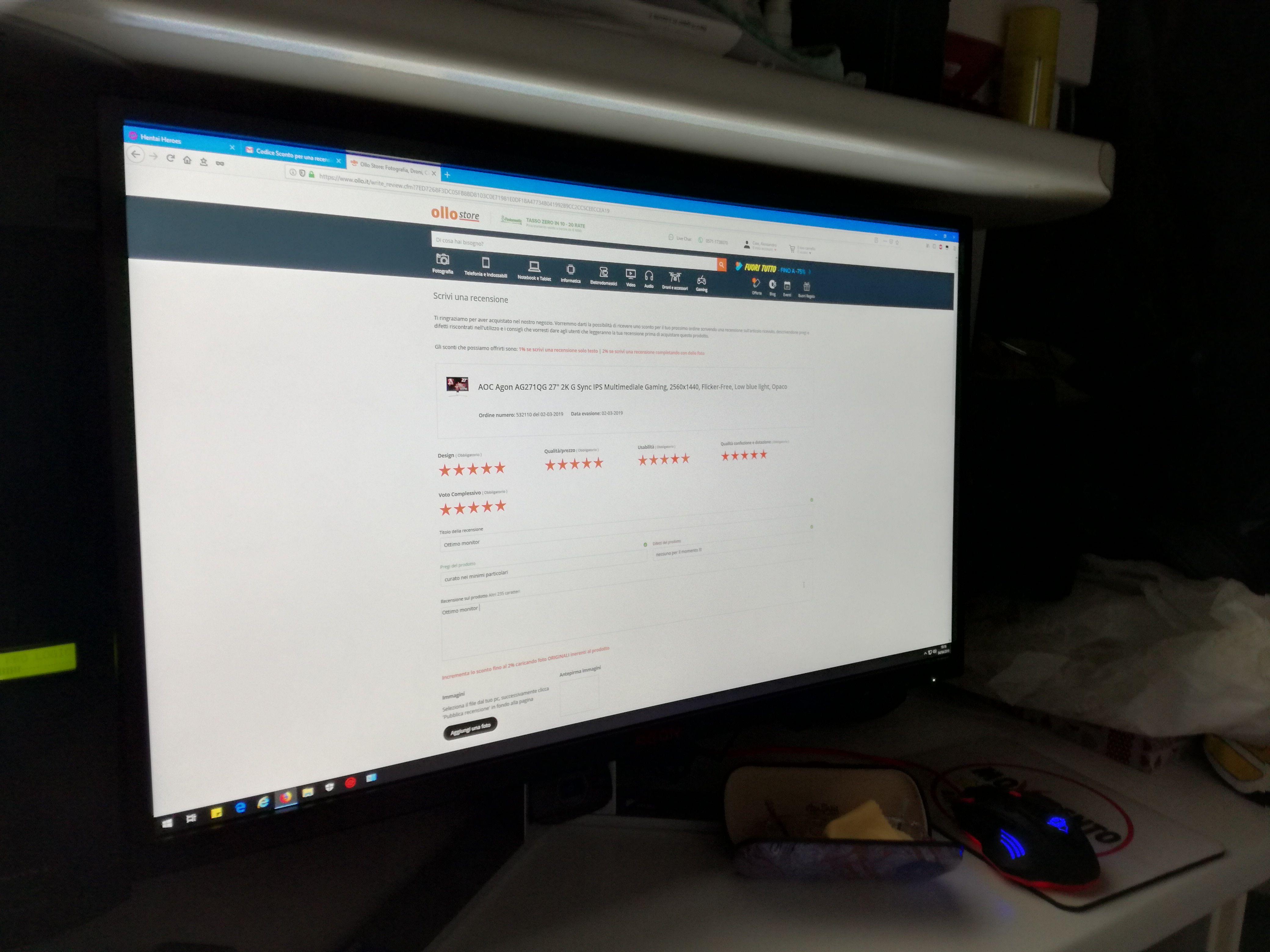 "Agon AG271QG 27"" 2K G Sync IPS Multimediale"